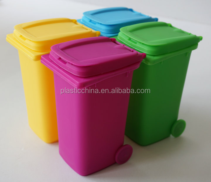 Plastic garbage can design with cover and wheels mini desktop bin