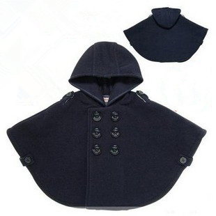 Navy blue poncho children kids cute autumn winter coat windproof woolen with hood coat 2017 latest French style