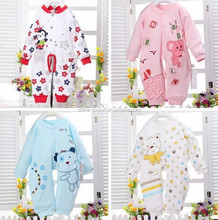 0002 2015 wholesale fashion spring autumn new pattern 100% cotton long sleeve cute pure color cartooncat monkey bear baby romper