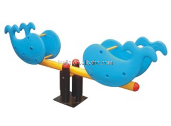 Outdoor playground games animal style kids plastic whale seesaw