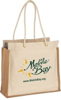 Eco-Friendly Jute Canvas Tote Bag - features full jute gusset, rope handles and comes with your logo.