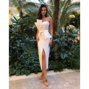 wholesale 2019 new high quality white irregular neck women party wear sleeveless elegant sexy slit evening dress A2992