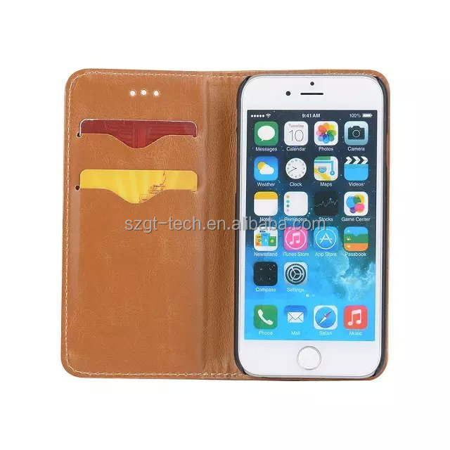 2016 Christmas gift Crazy Horse grain TPU+PU flip Leather sublimation phone Case for iPhone6 6s plus