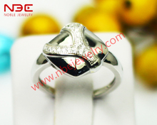 Fashion fancy silver ring jewelry, wax micro pave setting 925 sterling silver ring jewellery