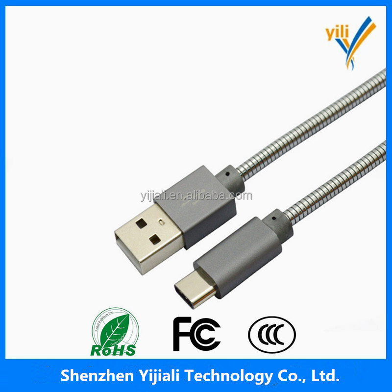 Metal spring stainless steel body USB 3.1 Type <strong>C</strong> Male to USB 2.0 A male usb cable for MacBook