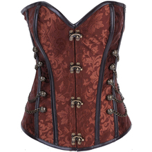 Charmian Plus Size Vintage Steampunk Corset Spiral Steel Boned Faux Leather Overbust Corset Corselet Espartilhos for Women