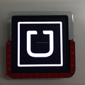 12 x 12cm chargeable LED light car sticker for UBER car service