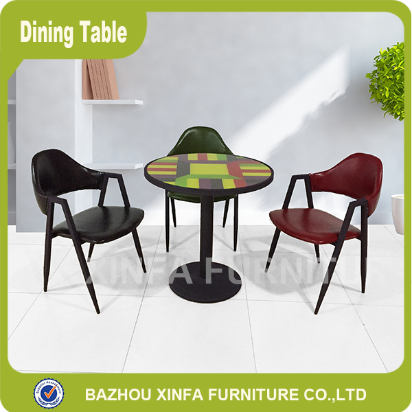 Widely Used Round Glass Top One Metal Leg Support Dining