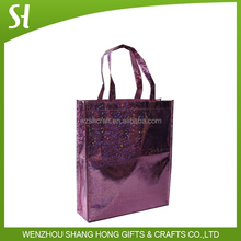 high quality shiny glitter royal purple shopping tote bag for women lady