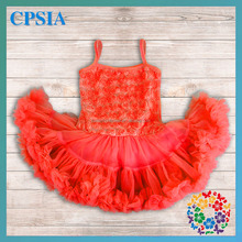 One Year Baby Party Dresses Baby Girls Party Dress Design Red Rosettes Soft Fluffy Dress