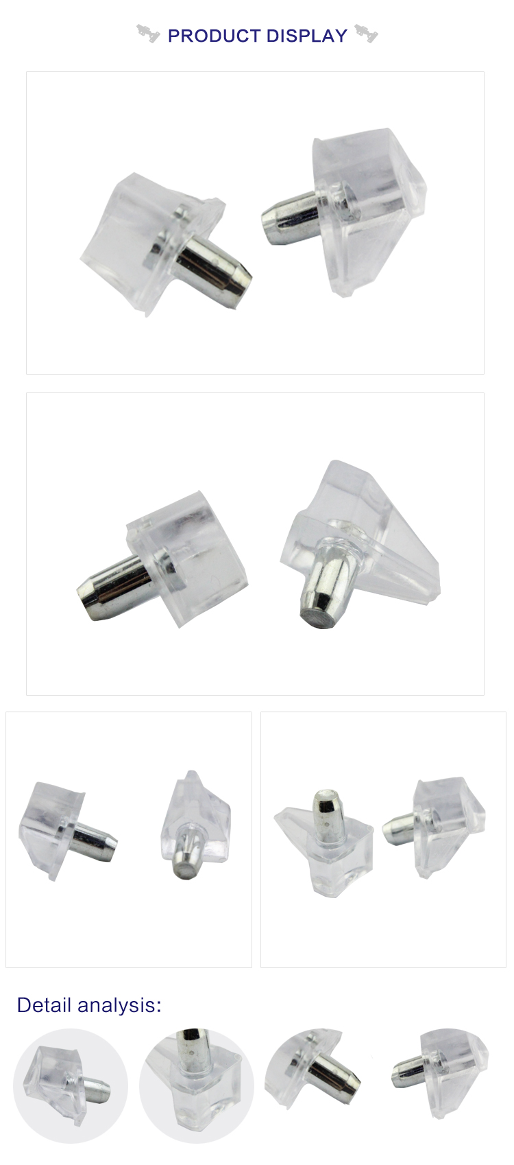 hardware fitting 5mm plastic mental glass invisible cabinet shelf support for sale