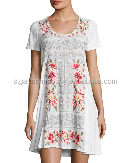 2017 Vintage Embroidery Dress Breathable Rayon Women Casual Floral Clothing Sta-0028