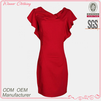 New designs high fashion good qaulity best price sexy red bodycon dresses knee length