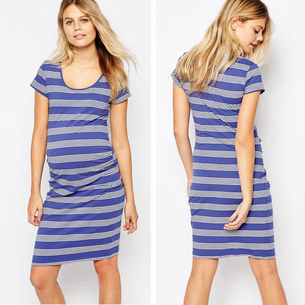 Blue stripe maternity wear fashion comfortable maternity dresses for office