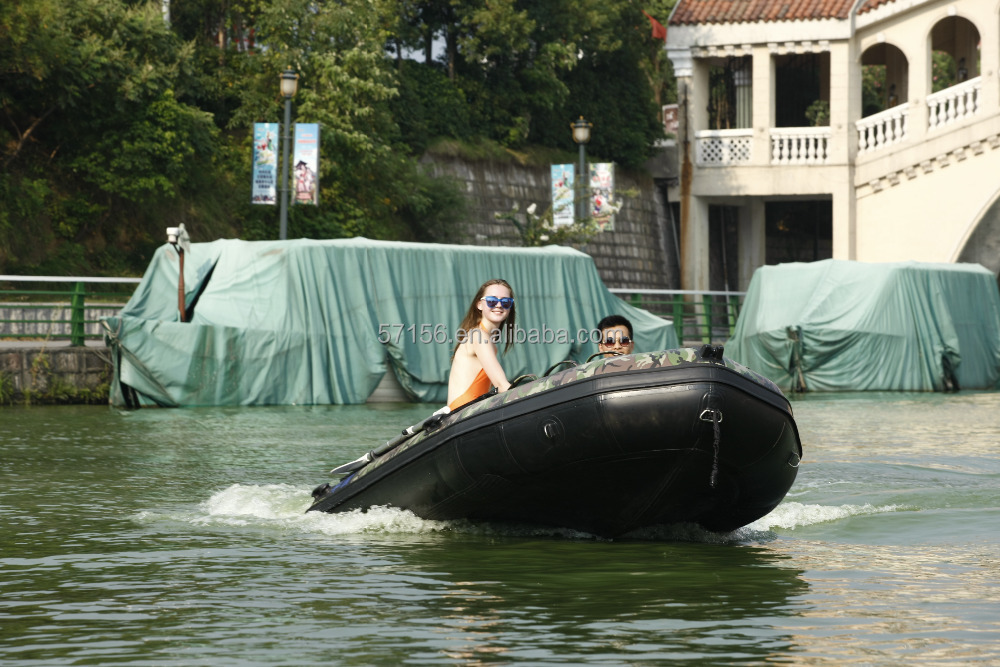 popular rigid hull PVC inflatable camouflage boat for sale