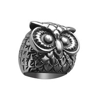 China Jewelry Factory Black Men's Animal Owl Rings