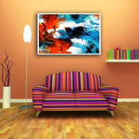 Multi-style handprint abstract oil painting for living room