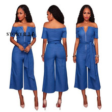 Women fashion sexy short sleeves off shoulder wide legs front zip waistbelt one piece long pants jeans denim romper jumpsuits