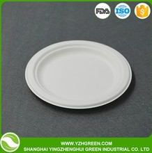 "Disposable bamboo composable 6"" round food plate"