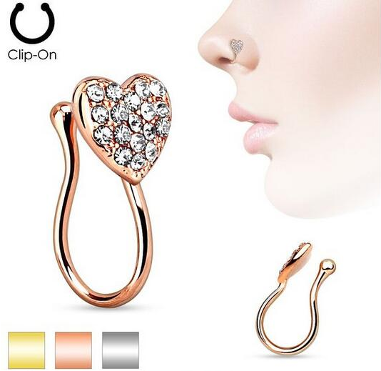 Fashion heart fake nose ring non piercing body jewelry clip on jewelry