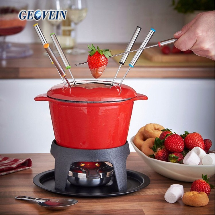 Enameled Cast-Iron 1-3/4-Quart Traditional Fondue Pot, Flame