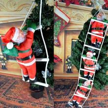 CT0044 Christmas Santa Claus Climbing On Rope Ladder Xmas Trees Hanging Home Decor New
