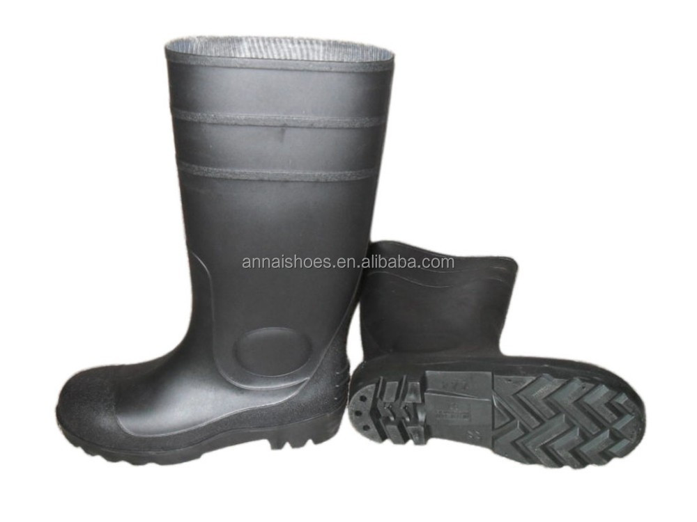 Safety PVC rain shoes with steel toe,industrial rain boots