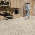 prefab design well polish BIANCO ROMANO granite kitchen countertop