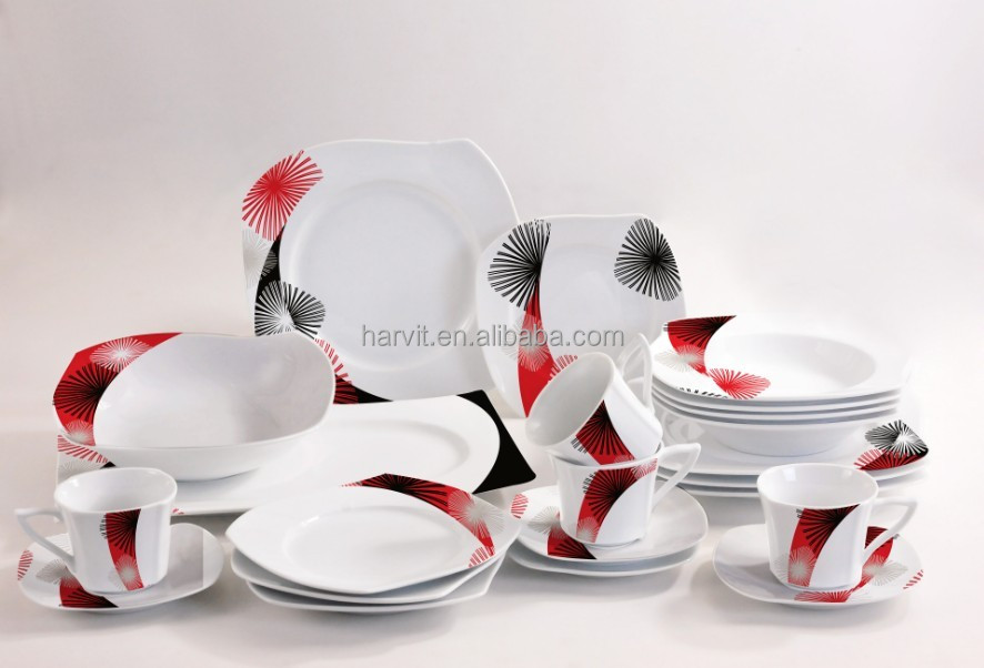hot sale porcelain dinnerware sets 47pcs s shape ceramic dinner sets