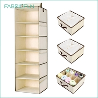 Polyester Canvas Hanging Closet Shelf Organizer with Drawers and Underwear Drawer Foldable Hanging Closet Shelves