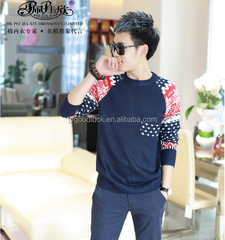 2014 Peijiaxin Latest Design Hot Selling Casual Style with a Pocket Raglan Pullover Fashion Men Sweaters