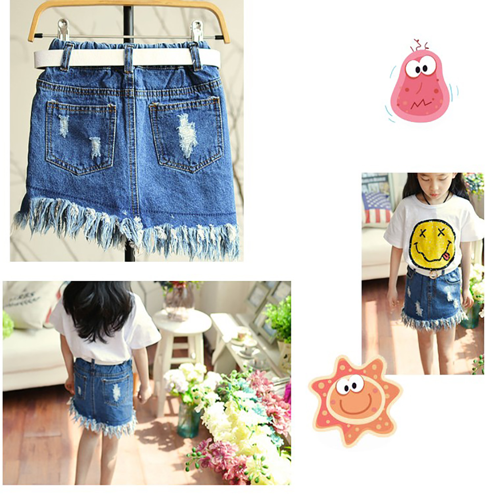 Hot Selling Children Cool Girl Embroidered Denim Skirt