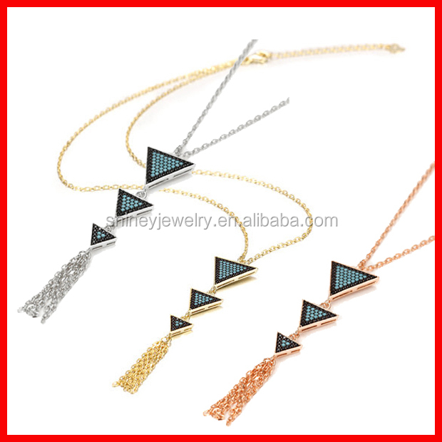 Top quality brass pave turquoise cz triangle tessel squash blossom necklace