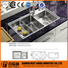 European style large volume kitchen sink stainless sink