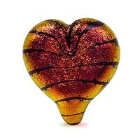 Dichroic Glass Big Heart Bead Rust On Black 26mm