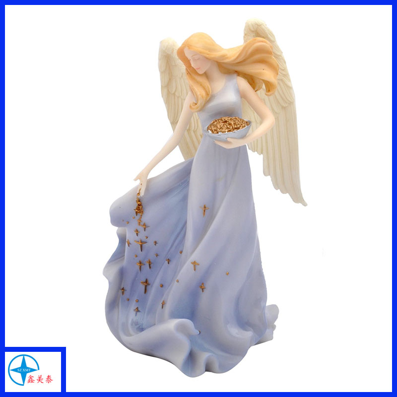 purple spring angel figurines with star for decoration