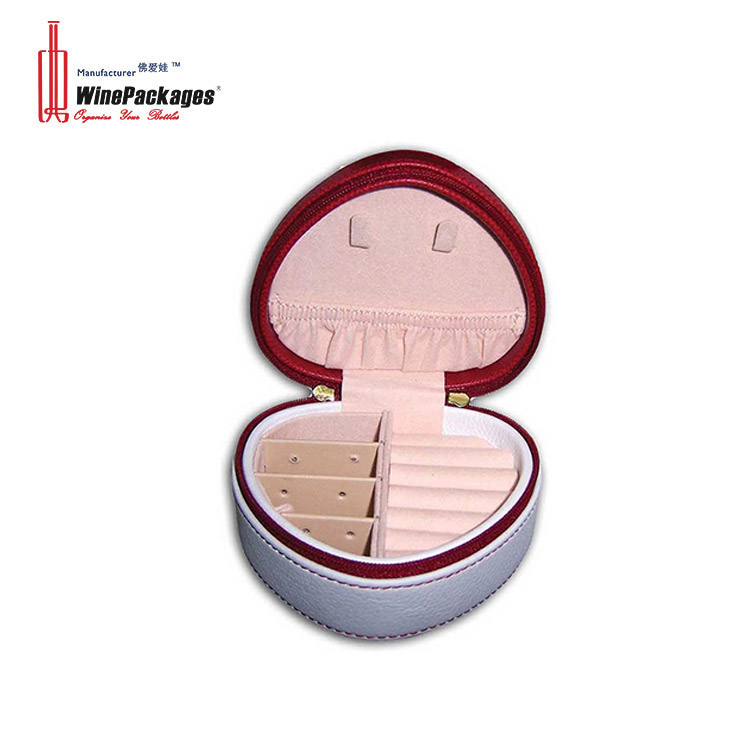 Dongguan Factory High Quality Heart Shaped Lovely Gift Jewelry Box With Zipper
