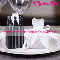New Sweet Bride&Groom Wedding Dress Casamento Party Favour Decor Gift Box Romantic Valentine Chocolate Candy Box