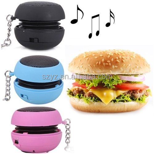 Mini Hamburger Pocket Speaker - Rechargeable Travel Speaker for iPhone, iPod, iPad, MP3 Players