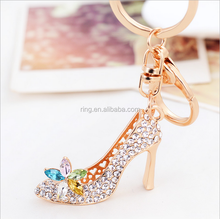 Bulk High Quality Charm Rhinestones high heel shoes keychain with single lobster for Women