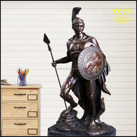 European style Bronze resin sculpture Greece myth Shields sword fighters warrior statue