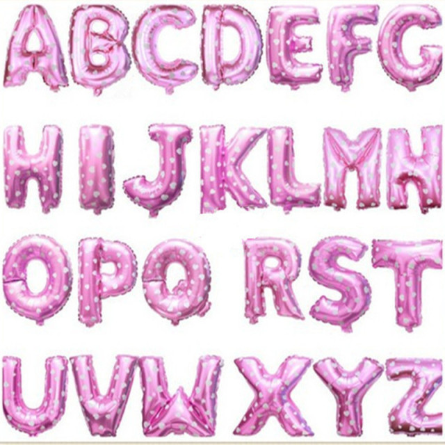 1pcs-lots aluminum balloons Birthday letters  pink balloon decoration wholesale