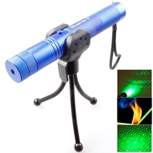 4mw 532nm 303 Green Beam Gypsophila Pattern Adjustable Focus Laser Pointer with Holder(Blue) green laser pointer