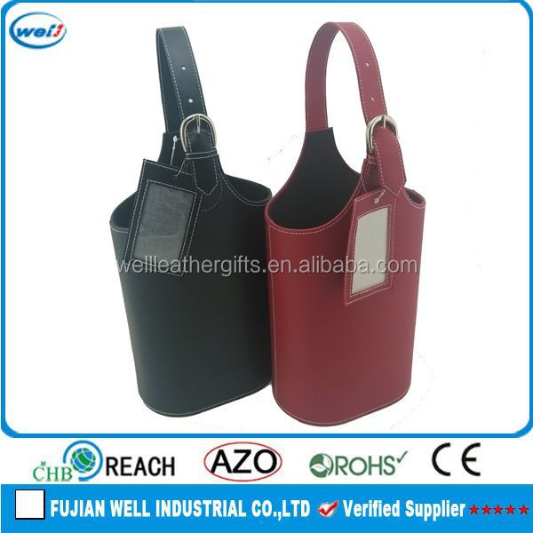Eco-friendly PU leather 2 bottles leather wine carrier manufacturer