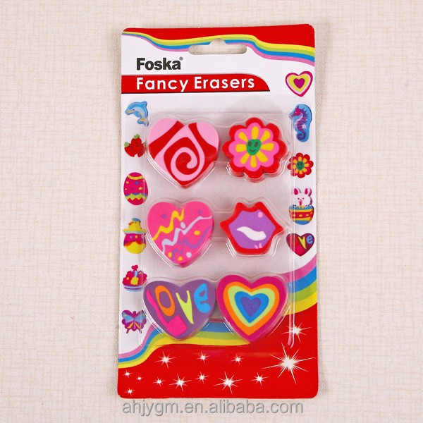 Cute Shaped Assorted 6pcs Blister Card Packing Eraser/Eraser Set.
