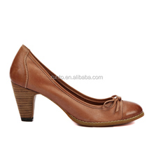 Guangdong pure handmade leather ladies shoes refined elegance Middle heel shoes in women's dress shoes