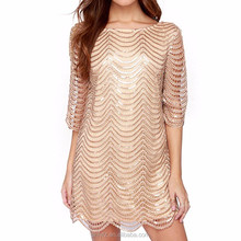 Anly wholesales fashion hollow loose short sleeve sequin dress for women