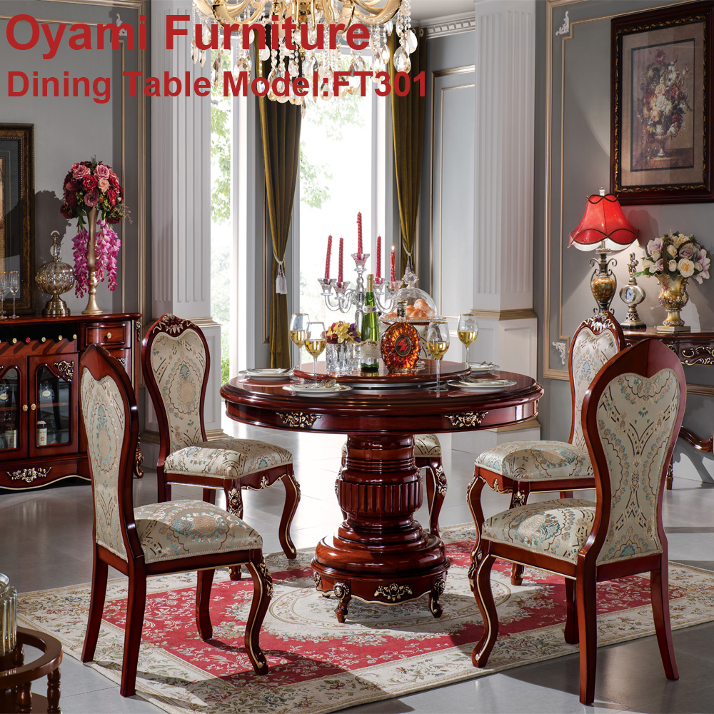 european luxury classic solid wood gold leaf carved dining room furniture