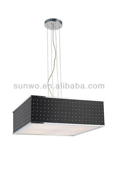 Black Cuboid With White Dot Lamp Shade Suspension Pendant Lamp