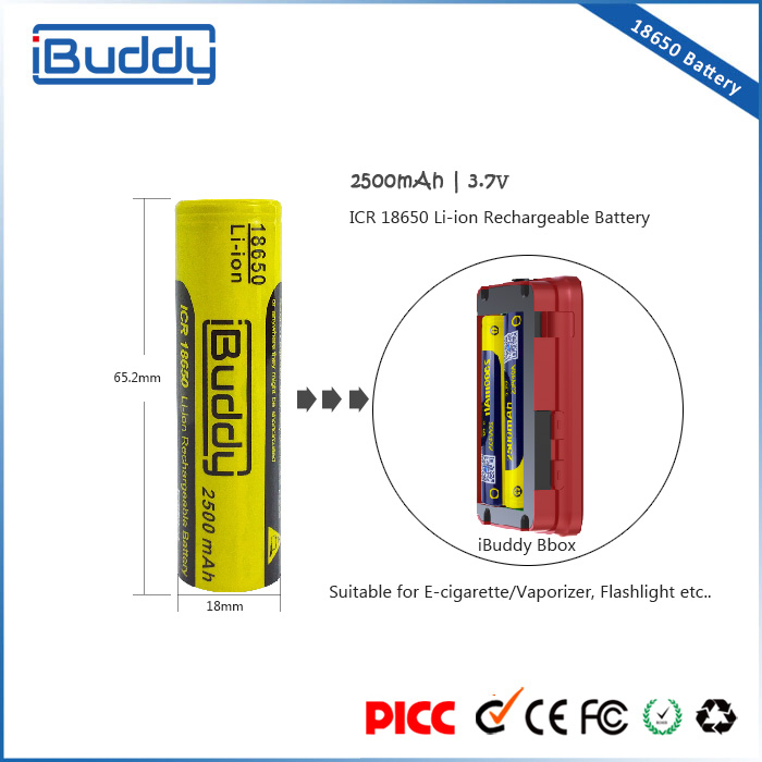 Alibaba express best selling original buddy 2500mah 3.7v 18650 e-cigarette battery wholesale china